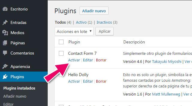 Como activar un plugin en WordPress