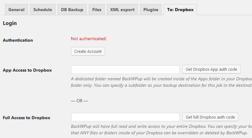 conectar dropbox con backwpup para hacer backup
