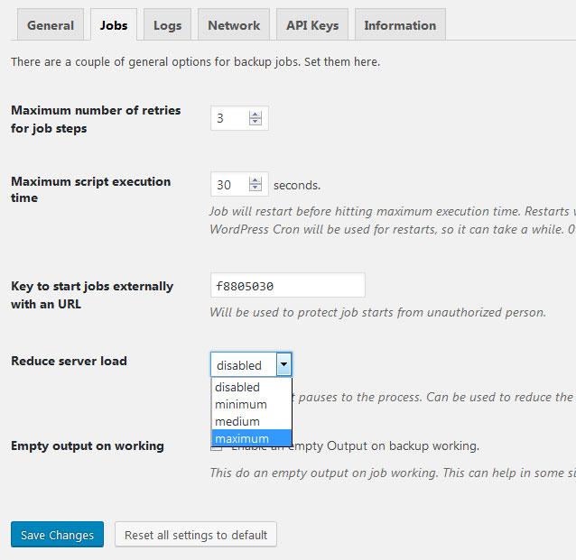 configuracion plugin BackWPup de WordPress