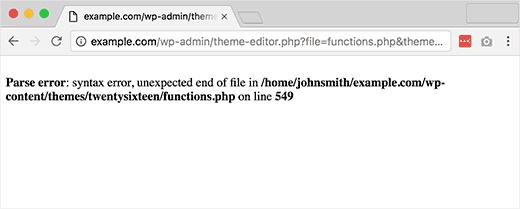 como solucionar error de parse error en WordPress