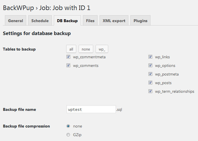 Crear backup de la base de datos de WordPress con BackWPup