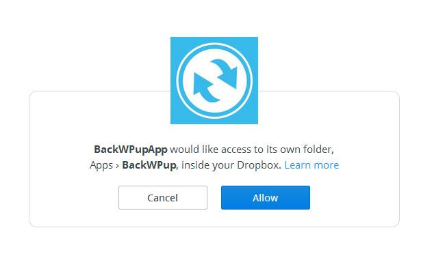 Permiso de dropbox para acceder a backwpup
