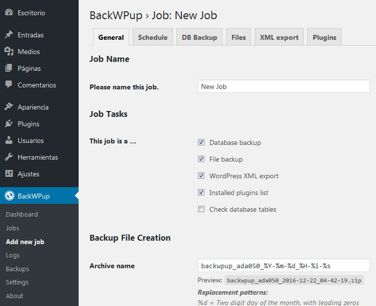 crear nuevo job en plugin de BackWPup