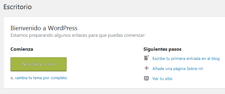 Panel de bienvenida de la administración de WordPress