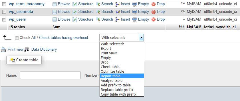 reparar la base de datos de wordpress por phpMyAdmin