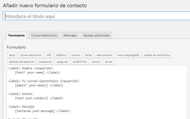 Crear nuevo formulario de contacto con Contact Form 7