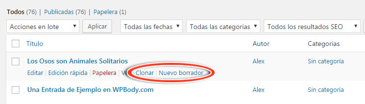 Enlaces de Duplicate Post para clonar entrada en WordPress