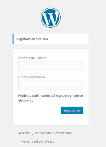 Formulario para registrar nuevo usuario en WordPress