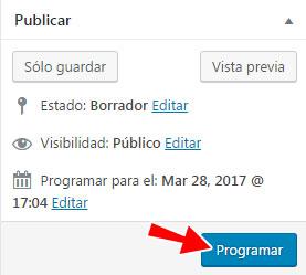 Programar entrada en WordPress para publicar en otra fecha y hora