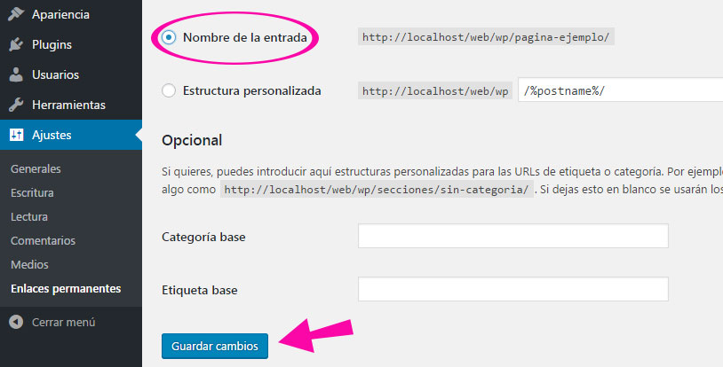 Reescribir los enlaces permanentes en WordPress