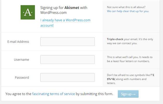 Registrar nueva cuenta Akismet para proteger sitio de comentarios spam