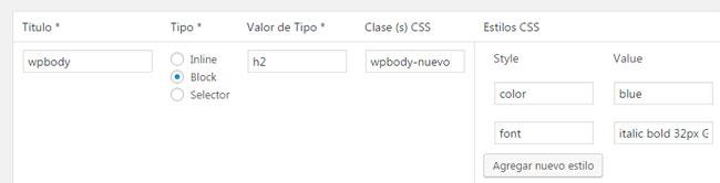 Agregar nuevo estilo CSS con el plugin TinyMCE en WordPress