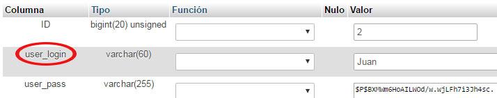 Cambiar nombre de usuario en WordPress de phpMyAdmin en la columna user_login