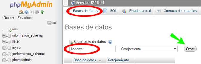 Crear base de datos en phpMyAdmin para instalar WordPress en servidor local XAMPP