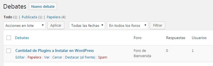 Crear y gestionar nuevo debate en los foros de bbPress en WordPress