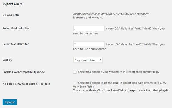 Exportar usuarios en WordPress con plugin Cimy User Manager en formato CSV