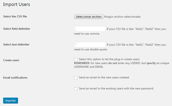 Importar usuarios en WordPress con plugin Cimy User Manager en formato CSV