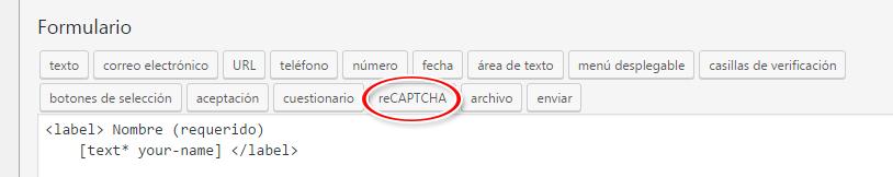 Insertar shortcode de reCaptcha en formulario de contacto del plugin Contact Form 7