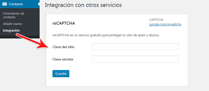 Integrar google reCaptcha en formulario de contacto contact form 7 en WordPress