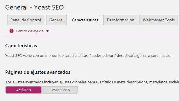 Activar ajustes avanzados del plugin Yoast SEO en WordPress