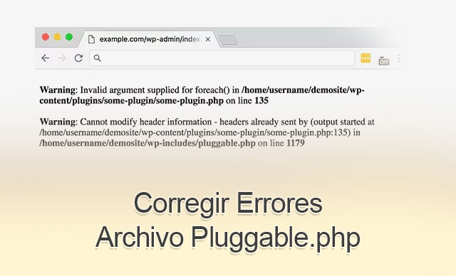Corregir Errores Archivo Pluggable.php en WordPress
