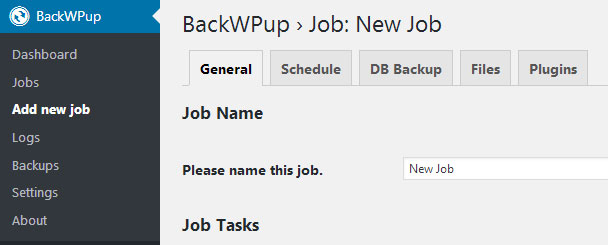 Crear nuevo job con plugin BackWPUp para crear copia de respaldo backup