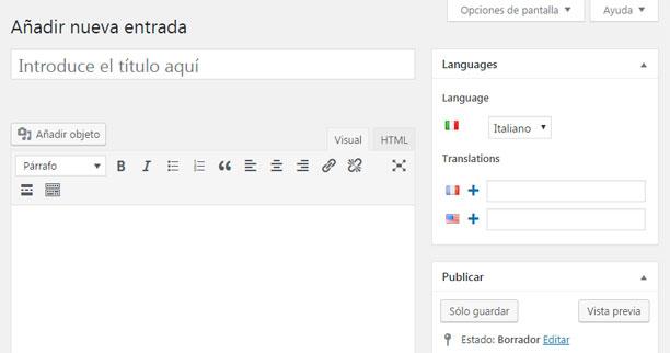 Traducir contenido de entrada con Polylang en WordPress