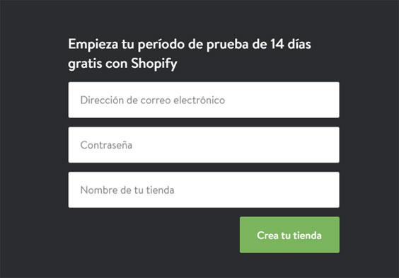 registrarse en Shopify en periodo de prueba para vender productos