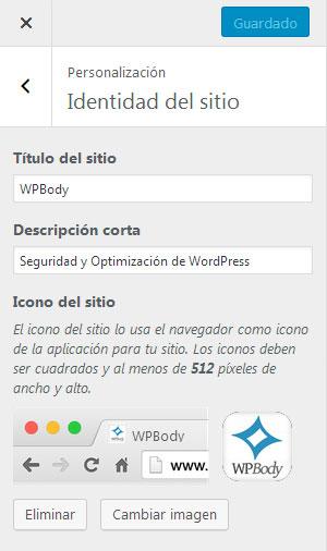Insertar un favicon en el personalizador de apariencia en WordPress