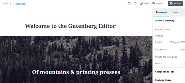 Demo del Editor Gutenberg de WordPress