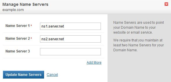 Cambiar los nombres de servidor Nameservers de dominio a nuevo servidor