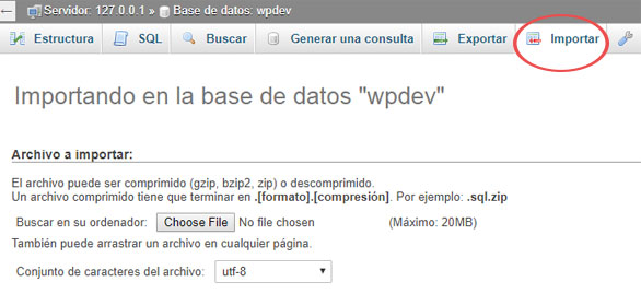 Importar la base de datos de WordPress por phpMyAdmin