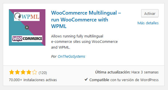 Plugin WooCommerce Multilingual de WordPress