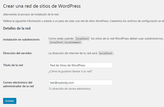 Detalles de la red de sitios de WordPress