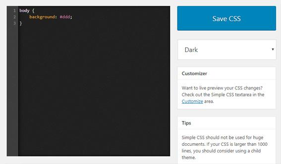 Editar CSS con el editor del plugin Simple CSS en WordPress