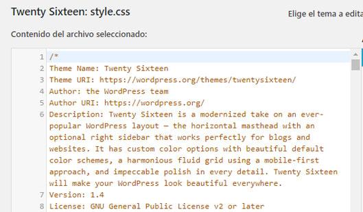 Editar CSS en WordPress con el editor predeterminado