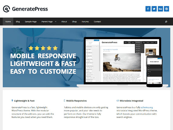 Enlace de demo del gratuito tema GeneratePress de WordPress