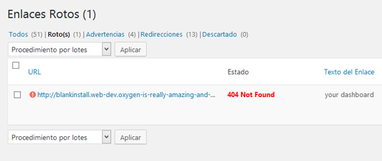 Enlaces rotos encontrados en WordPress con el plugin Broken Link Checker