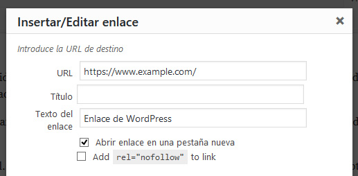 Crear un enlace en WordPress con la etiqueta nofollow