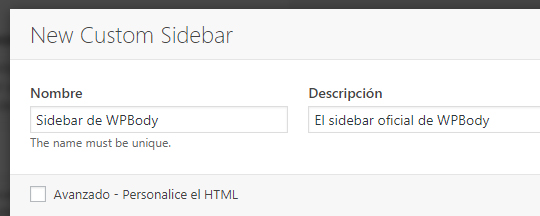 Crear una nueva barra lateral con el plugin Custom Sidebars en WordPress