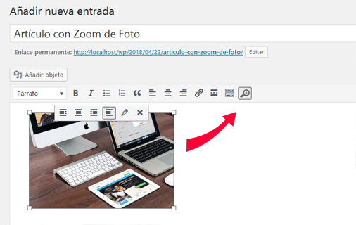 Entrada de WordPress con zoom de foto