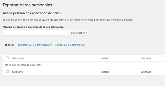 Exportar datos personales de usuario en WordPress