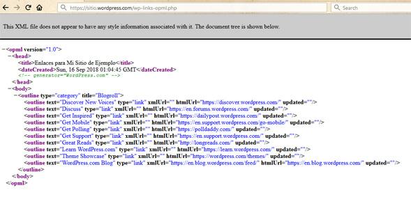 Dirección URL para exportar enlaces de WordPress.com