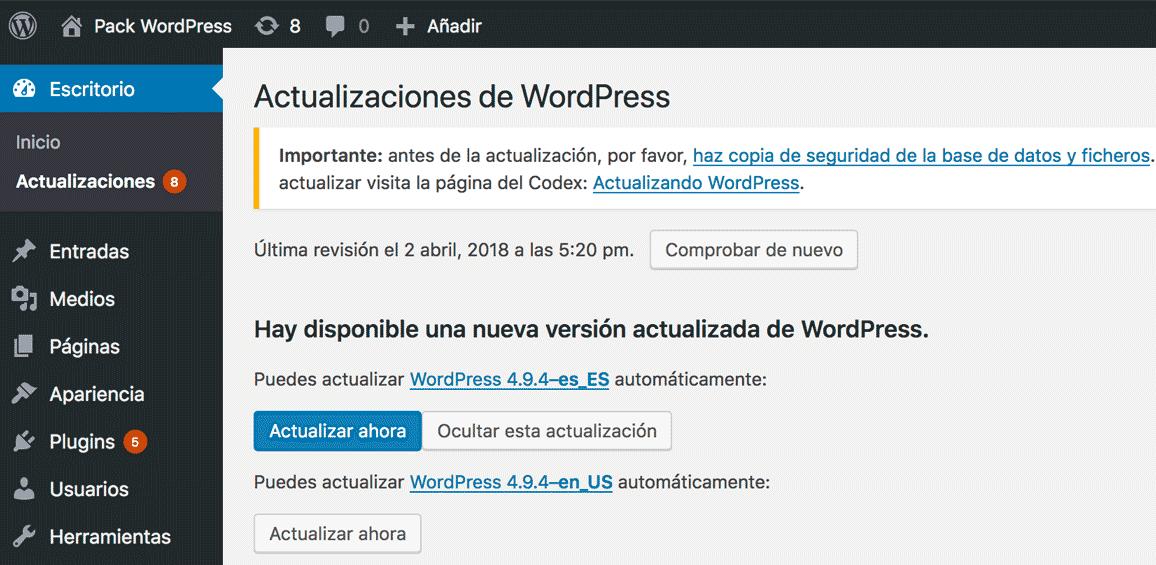 Notificación de actualización a nueva versión de WordPress