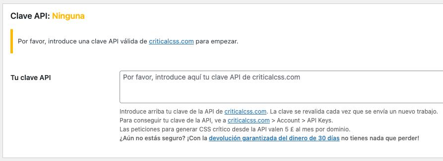 API Critical CSS