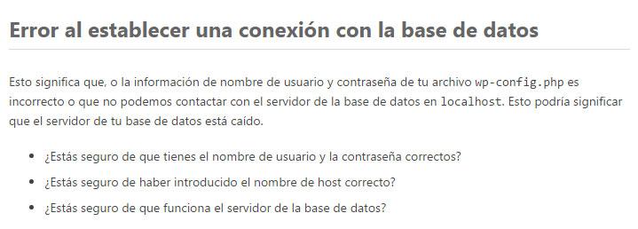 Solucionar Error de Conexión a Base de Datos en WordPress