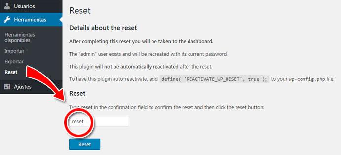 Resetear base de datos de wordpress a estado predeterminado con WordPress Reset