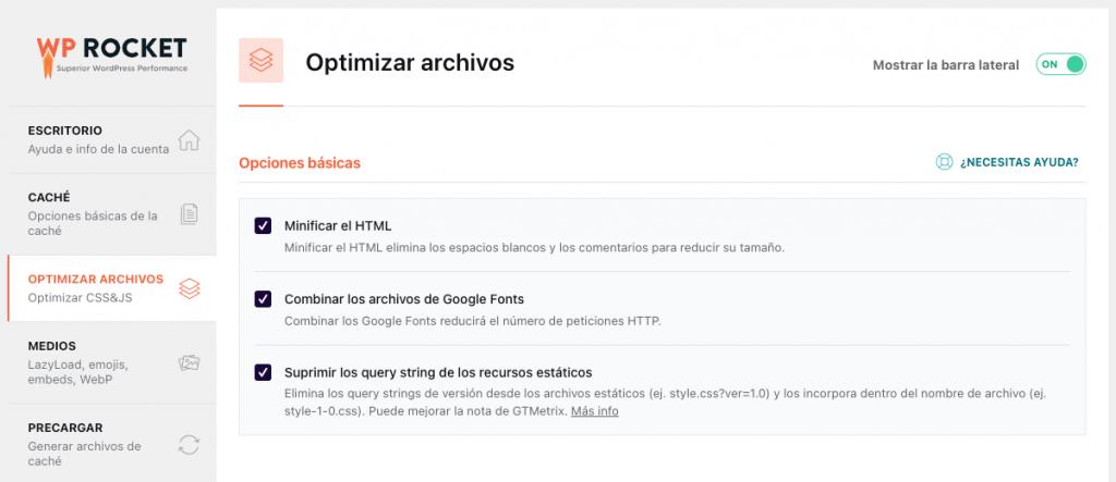 Optimización de archivos wprocket